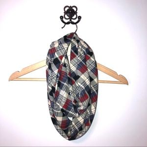 Vintage Accessories - Red & Navy Plaid Flannel Infinity Scarf